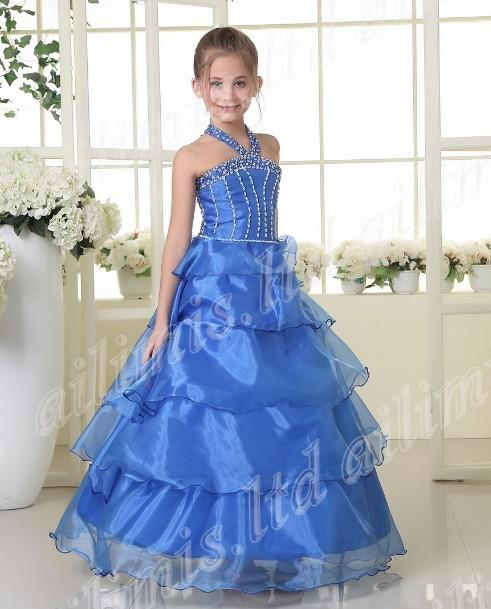 New Girl's Pageant Dresses Halter Blue Beautiful Girl Kids Pageant ...
