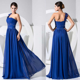 2019 Real photos New sexy Evening dresses chiffon royal blue Prom Gowns