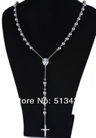 Chains Asian & East Indian Gift XL294 good quality 104g Stainless Steel 8mm ball cross rosary chain necklace for men's gifts jewelry,31'' free ship