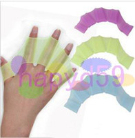 Wholesale 4pair free ship swimming fins for hands silicone swim sailor webbed palm flying fish webbed gloves swimming gloves swimming equipment