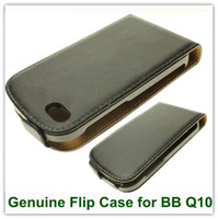 For Christmas bb leather case - 10PCS Black Color Real Genuine Leather Magnetic Flip Skin Covers Case for Blackberry BB Q10