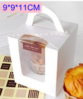 Wholesale Handheld single cupcake boxes muffin cake box cake container food packaging for wedding and festival party