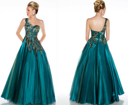Wholesale one shoulder Prom Dresses Pleated Peacock Feather One Shoulder Tulle A line Evening Dresses Pageant Gowns