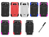 Wholesale For LG Motion G MS770 Metro V3 Kickstand Double Layer Hard Case Phone Cover