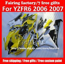 Free 7 gifts Custom race fairing kit for YAMAHA YZFR6 2006 2007 YZF R6 YZF600R 06 07 fairings g1p new yellow black white motorcycle bodywork