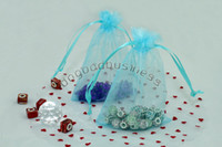 Wholesale 100pcs Turquoise chinese Christmas Wedding voile gift bag Organza Bags Jewlery packing Gift Pouch