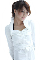 Wholesale 043 womens new fashion black white turn down collar bow belt casual shirts ladies spring dress tops cotton blends
