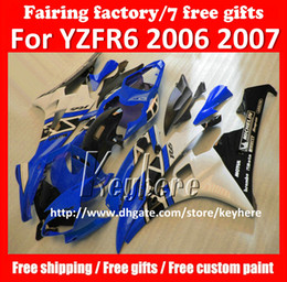 Free 7 gifts Custom race fairing kit for YAMAHA YZFR6 2006 2007 YZF R6 YZF600R 06 07 fairings g2p new blue black white motorcycle bodywork