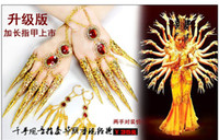 Wholesale Belly dance dancing wear costume India peacock dance nails diamond hand chain nail wrap women stage accessories