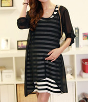 Wholesale 2013 new fashion Modal Striped Chiffon Maternity Dresses Summer Autumn Pregnant Woman Dress Clothing set