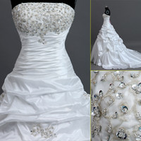 Wholesale IN STOCK Real Image Crystal Wedding Dresses A Line White Ivory Taffeta Beading Lace Up Cheap Strapless Wedding Gown Beach Bridal Dress