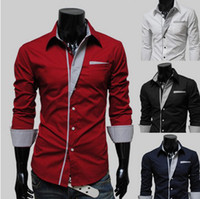 Wholesale Hot Fashion Spring Men s Long Sleeve Solid Casual Shirt Slim Fit Casual Shirts Colors M L XL XXL YY JJ