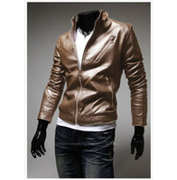 Men Leather Street Fashion 2013 Men Slim collar machine wagon jacket Py01700