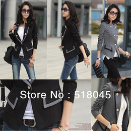 Wholesale Fashion Women handsome Blazer Jacket Ladies Casual Suit Coat Outerwear Grey Black Color Size S M L for Women