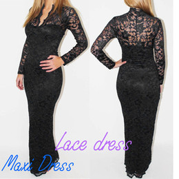 Wholesale Fashion Ladies Sexy V Neck Slim Scallop Neck Lace Women Maxi Dress Long Sleeve Wedding Evening Black