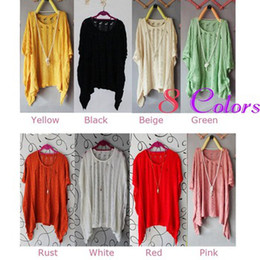 Wholesale shirt Stylish Women s Batwing Tops Casual Loose Hollow Asymmetric Knit s Cardigan Colors