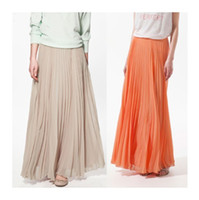 Chiffon Long  Fashion Chiffon Ladies Women Long Pleated Skirt Orange Nude Pink Yellow Half Dress Summer 2014 Free Shipping