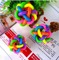 Wholesale Colorful Bell Twist ball dog cat pet sound toys with bells Rainbow Ball