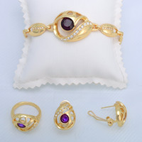 Wholesale New Design Fashion Purple Rhinestone Pendant Necklace Gold Plated Jewelry For WomenA013