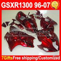 Wholesale 7gifts Tank For SUZUKI Hayabusa GSXR1300 GSX R1300 GSX R1300 Dark red black CMF1527 GSXR Fairing
