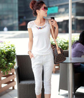 Chiffon Short Sleeve Long 2013 Summer New Korean Hot Selling Women Fashion Slim Sports Leisure Suits Lady Sexy Chiffon Half Sleeved jumpsuits Embroidered Lace Pants