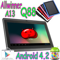 Wholesale 50pcs Q88 Inch Allwinner A13 Android flat Capacitive multi touch Tablet pc Boxchip Webcam Play Store