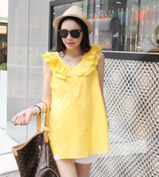 Wholesale pregnant woman tops maternity dress silk chiffon georgette sleeveless pregnant fashion wears