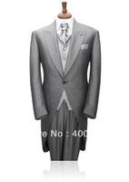Reference Images Cotton Autumn/Spring Wholesale Price Sale Grey Morning Suits Business Suit Clothes(jacket+pants+vest+caravats) OK:191