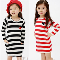 girls pettiskirts - 2013 autumn girls dresses stripe one piece dresses blouses ball gown pettiskirts girls jumpers tops children s clothing F801