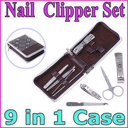 Wholesale Professional Nail Tools Stainless Steel Manicure Pedicure Ear pick Nail Clippers Grooming Set in Case With PU Leather
