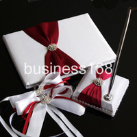Wholesale Wedding Favors Wedding Party unique wine red and white bow design Wedding Guest Books amp Pen Sets