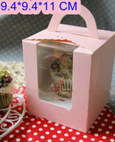 Wholesale Single individual Cupcake bakery and cookie paper boxes and packaging for wedding festival party