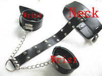 Wrist & Ankle Cuffs Female  BDSM Gear Bondage Leather Wrist Cuffs to Collar Slave Hand to Neck Restraints Sex Toys Adult Products XLY339