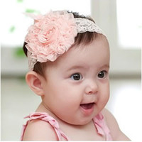 Wholesale Infant Big Flowers Headbands Korean Lace Hair Ornaments Baby Fashion Cute Headwear Pink White Orange Color