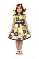 al por mayor vestido de la flor amarilla-Nuevo vestido de las muchachas / vestido de adolescente / amarillo con flores levitas / 5 tamaños durante unos 5-14 años los niños