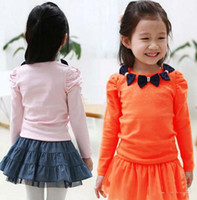 Girl 2T-3T Spring / Autumn 2013 Hot New Fashion Girl's T-shirt Bow Collar Cute Cotton Tee Children's Long sleeve T-shirt free shipping