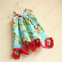 Baby girl kids strap dress cotton dress green leaf rosette f...