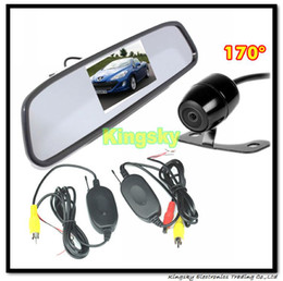 "4.3"" Car RearView Mirror Reverse Monitor 170 Degree Mini Wireless Backup Camera"
