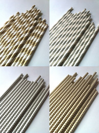 Wholesale Hot Sale Gold Silver drinking paper straws Mixed Striped Stars Chevron patterns Retial Drop shipping
