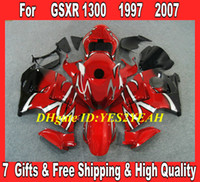 al por mayor 1996 hayabusa-Kit de carenado personalizado para 1996 2007 Hayabusa GSXR1300 GSX R1300 96 00 01 04 07 GSXR 1300 negro rojo brillante Kit carenado SD21