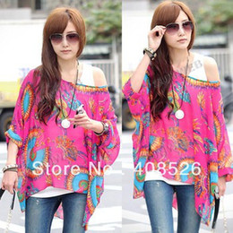 Wholesale Casual New Women Bohemia Batwing Sleeve Round Neck Loose Chiffon Shirt Top dropshipping