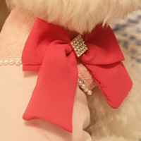 Wholesale New arrival Dog clothes teddy pet clothes spring and summer a large diamond bow tie pearl chiffon vest via DHL