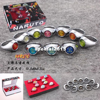 Green,Blue,Brown akatsuki members rings - second generation HOT NARUTO ANIME COSPLAY Akatsuki Member Ring Set COSTUME Christmas gift sets