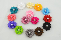 Wholesale Trail order girl small pearl Satin Ribbon layered Flower DIY Flowers without clip Headbands Accessory