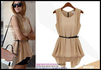 Chiffon Round Mini With Belt! Korean Women Summer New Fashion Chiffon Dress False Two Waist Mini Chiffon Shirt Nude+Black