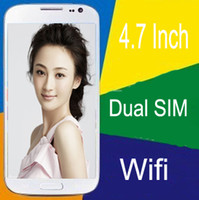 Wholesale GD S4 Inch Feature Cell Phone WIFI TV Dual Normal SIMs FM Cheap Unlocked Mobile G GSM mini S4 SIV i9500 S IV Gift Leather Case