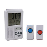 Wholesale Brand New LED indicator m melody wireless Doorbell Alarm w Clock amp indoor Temperature Freeshipping
