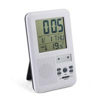 Wholesale 2pcs Brand New LED indicator m melody wireless Doorbell Alarm w Clock amp indoor Temperature Freeshipping
