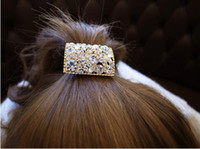 Wholesale Chic Rhinestone Crystal Hair Clip Pony Tail Holder Fancy Bridal Prom Bling Jewelry