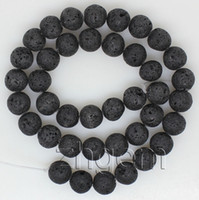 Wholesale natural black Volcanic lava round bead Loose gem mm jewelry DIY
